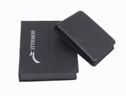Styrrior 2251 - Black Solid Leather Two Fold Wallet