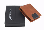 Styrrior 2253 - Tan & Black Blocked Leather Two Fold Wallet