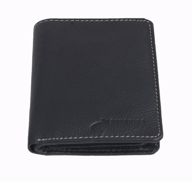 Styrrior 2254 - Black Leather Two Fold Vertical Wallet