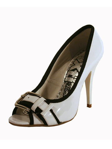 "Shoes by XTi Open Toe White Patent Leather Effect with 4"" High Heel"