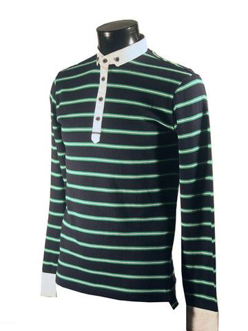 Mens Designer Fashion Jumper by Antony Morato in All Over Navy/Green and White Stripe