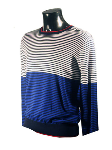 Mens Designer Fashion Jumper by Antony Morato in Two Toned Style Blue Black & White Striped Design