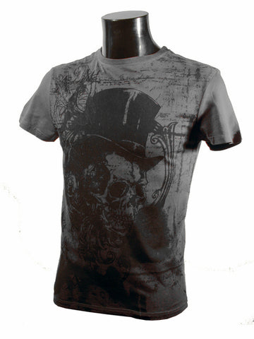 Mens Designer Fashion T-Shirt by Advocate H6 in Grey with Skull Design