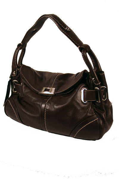 Ladies Designer Fashion Handbag by Francesco Biasia with Very Soft Leather Design Alice in Coffer Brown