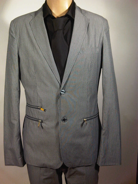Mens Top Brand Designer Luxury Suit by Antony Morato Very Slim Fitting in Grey Pinstripe