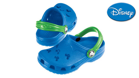 Kids Crocs Original Disney Style Cayman in Blue with Green Strap