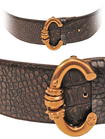 Belt Francesco Biasia Sporting Leather in Coffee Brown