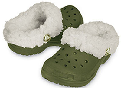 Kids Crocs Slipper Style Mammoth in Army Green Free Jibbitz Charms