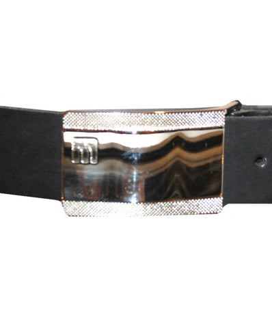 Mens Leather Belt Kirk by Daniel Christian with Silver Buckle in Black