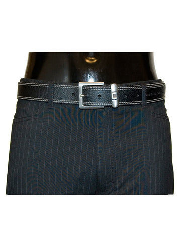 Mens Leather Belt Parry by Daniel Christian with Stitch Effect & Steel Buckle in Black