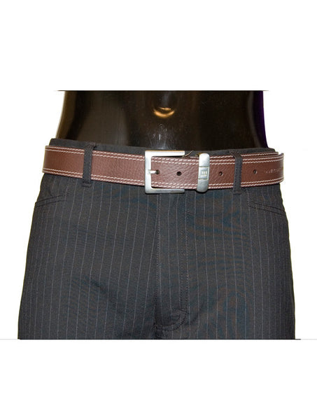 Mens Leather Belt Parry by Daniel Christian with Stitch Effect & Steel Buckle in Brown