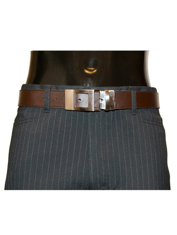 Mens Leather Belt Twister by Daniel Christian Reversable Buckle in Black & Brown