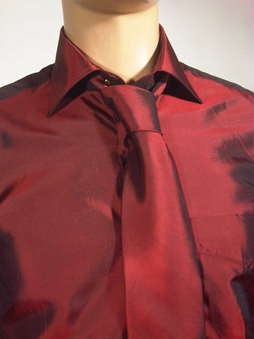 Mens Designer Fashion Shirt & Tie Box Set Elsa in Red