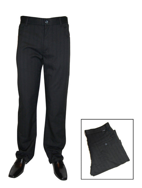 Mens Designer Fashion Trousers Edward by Daniel Christian Featuring Straight Leg & Zipper Fly in Black Pinstripe