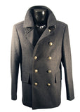 Coat Daniel Christian 3/4 Length in Charcoal with Brass Buttons or in Black