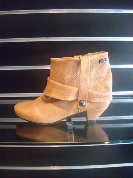 "Boots by Hoyvoy with 2"" Low Heel in Camel"