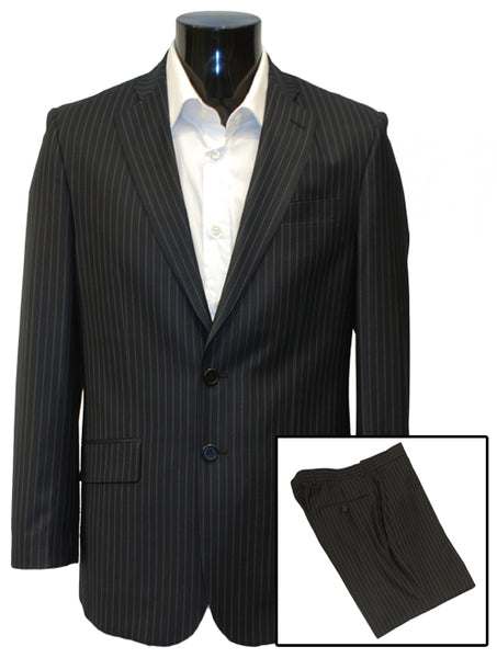 Mens Designer Suit by Daniel Christian in Navy Blue Wide Pinstripe
