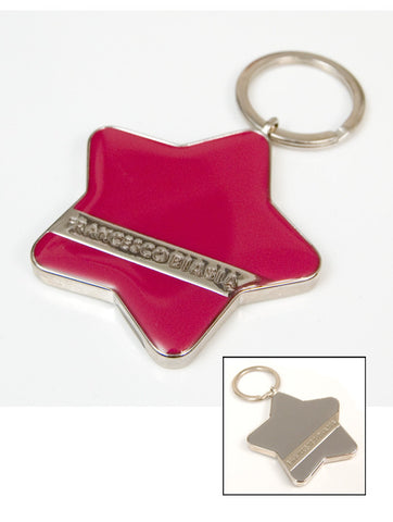 Mens & Womens Designer Fashion Keyring by Francesco Biasia Metal Star Design Fuchsia on One Side & Grey on The Other Side