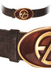 Ladies Designer Leather Belt by Francesco Biasia Soft Velour in Brown