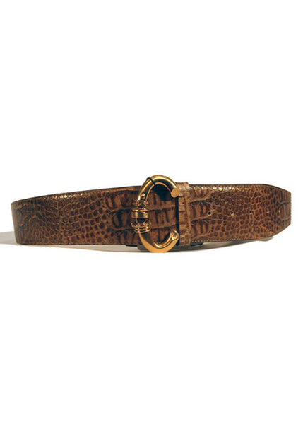 Ladies Designer Leather Belt Francesco Biasia Sporting Metal in Brown
