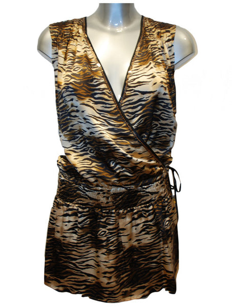 Ladies Designer Fashion Dress from Guess by Marciano 100% Silk in Tiger Print with Elasticated Waistline