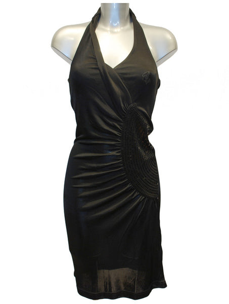 Ladies Designer Fashion Dress from Guess by Marciano Halterneck with Sequin Detailing in Black