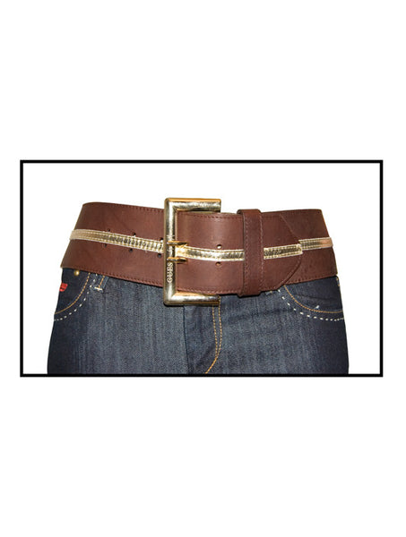 Ladies Designer Leather Waist Belt from Guess by Marciano in Brown with gold Stripe