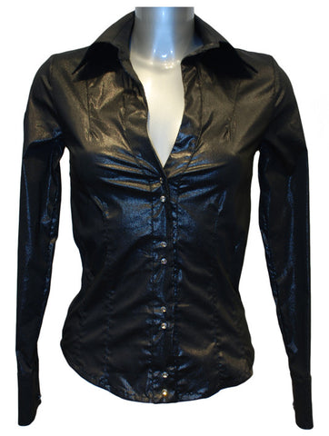 Ladies Designer Fashion Top Shirt/Blouse from Guess by Marciano Shine Effect with Diamond/Diamanté Stud Buttons in Black