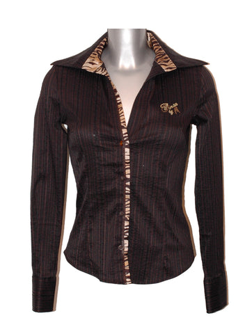 Ladies Designer Fashion Top Shirt/Blouse from Guess by Marciano Beautiful Crinkle Design in Brown