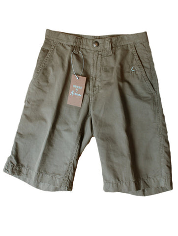 Mens Designer Fashion Shorts from Guess by Marciano with Zipper Fly in Sand Green