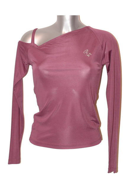 Ladies Designer Fashion Top from Guess by Marciano Off the Shoulder with Diamanté Logo in Purple