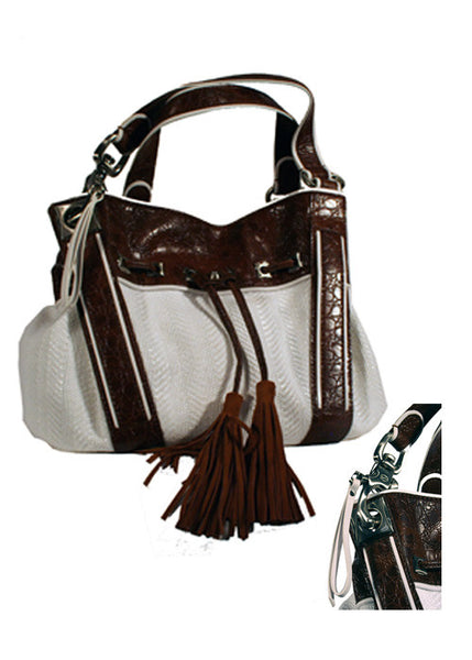 Ladies Designer Fashion Handbag by Francesco Biasia Glenda in Leather & Fabric Design in White