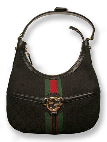 Ladies Designer Fashion Handbag by Gucci with Stripe Design in Black