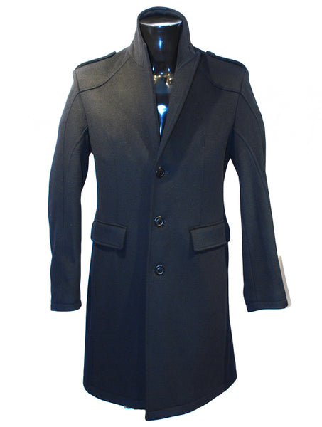Mens Designer Fashion Coat from Guess by Marciano  Full Length in Black