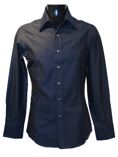 Mens Designer Fashion Shirt from Guess by Marciano in Black with Gold Pinstripe