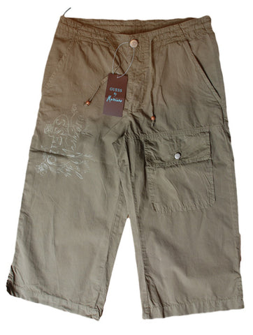 Mens Designer Fashion Shorts in Extra Long 3/4 Length Style from Guess by Marciano in Sand