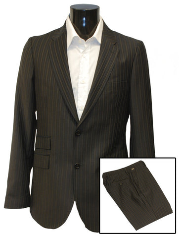 Mens Top Brand Designer Luxury Suit from Guess by Marciano in Black with Blue & Gold Pinstripe