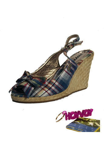 Ladies Designer Fashion Shoes by Hoyvoy Wedge Style Sandal Style with Open Toe & Sling-back in Blue Check