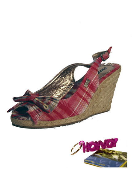 Ladies Designer Fashion Shoes by Hoyvoy Wedge Style Sandal Style with Open Toe & Slingback in Red Check