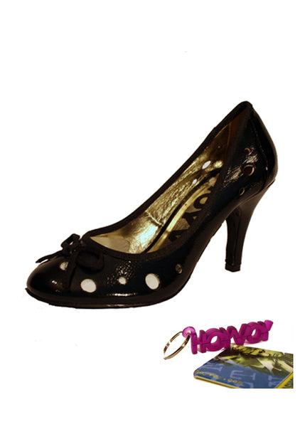 "Ladies Designer Fashion Shoes by Hoyvoy with a Holey Design and String Bow & 3.5"" High Heel in Black"