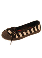 Ladies Designer Fashion Shoes by Hoyvoy Textile Flat Pump Style with Bow Design in Black with Stripes