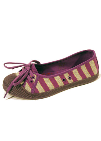 Ladies Designer Fashion Shoes by Hoyvoy Textile Flat Pump Style with Bow Design in Violet with Stripes