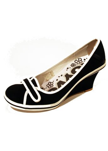 Ladies Designer Fashion Shoes by Hoyvoy with Front Velcro Fastening in Black & White Detailing