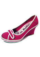 Ladies Designer Fashion Shoes by Hoyvoy with Front Velcro Fastening in Pink & White Detailing