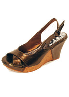 Ladies Designer Fashion Shoes by Hoyvoy Wedge Style Patent Leather with Open Toe and Slingback in Bronze
