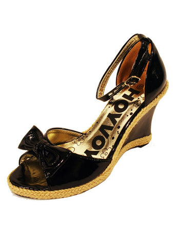 Ladies Designer Fashion Shoes by Hoyvoy Wedge Style with Open Toe & Slingback in Black