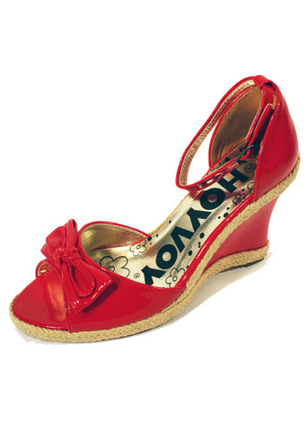 Ladies Designer Fashion Shoes by Hoyvoy Wedge Style with Open Toe & Slingback in Red