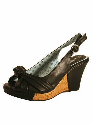Ladies Designer Fashion Shoes by Hoyvoy Wedge Style Open Toe with Slingback in Black