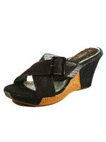 Ladies Designer Fashion Shoes by Hoyvoy Wedge Sandal Style Fade Fabric with Buckle in Blue