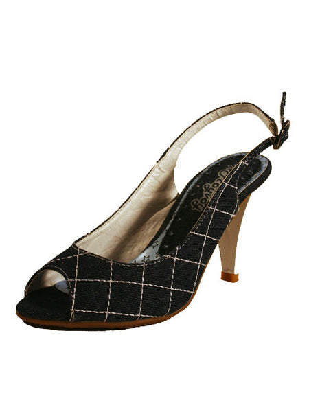 Ladies Designer Fashion Shoes by Hoyvoy Stylish Jean Textured Design with Open Toe & Sling-back